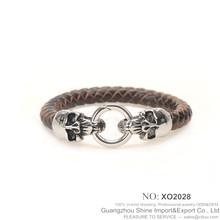 promotion price mens double skulls leather stainless steel bracelet XO2028
