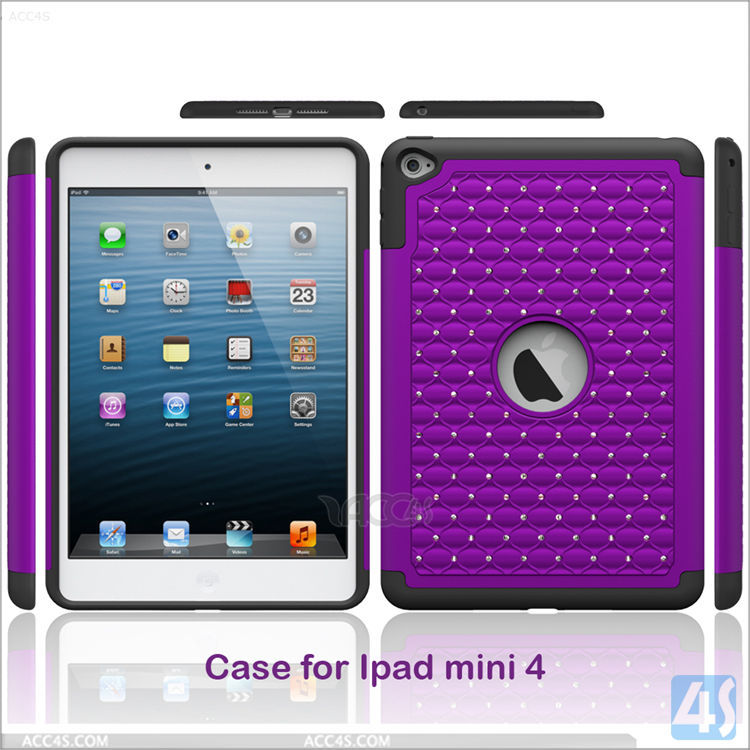 Fashionable Diamond pattern 3in1 TPU Silicone Case for Apple iPad Mini 4 Purple color