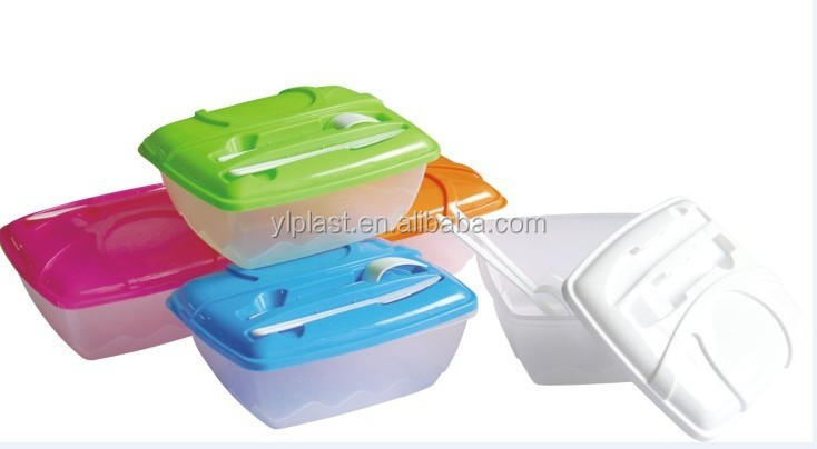 Good selling plastic lunch box with fork, and knife