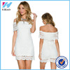 Wholesale 2016 New design girls elegant lace dress white fashion off shoulder casual dress for women