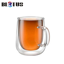 density clear double glass coffee cup