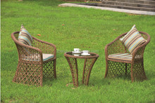 Slim rattan outdoor furniture coffee chair set PE rattan chair