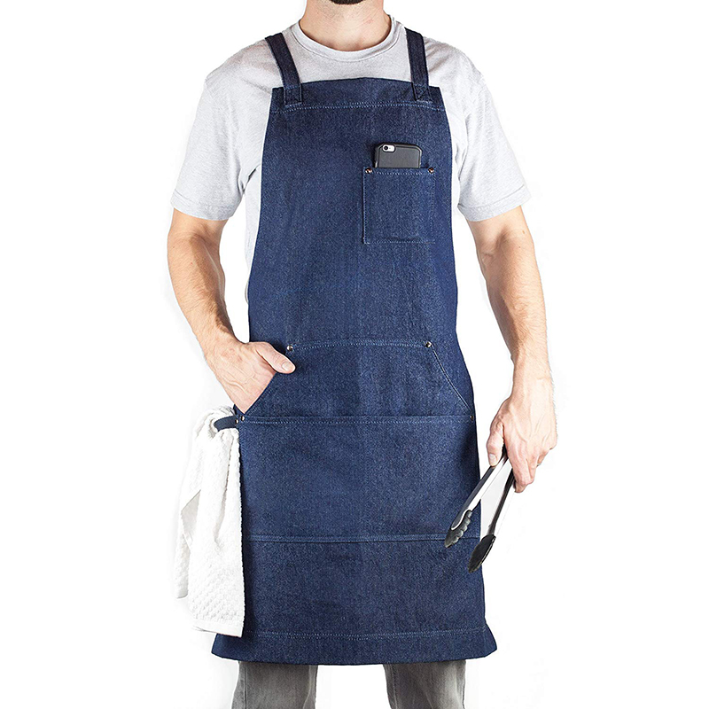 Denim Apron for Chef, Kitchen, BBQ, and Grill