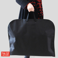 Portable handled non woven black color cheap recycled blank zip lock garment bag