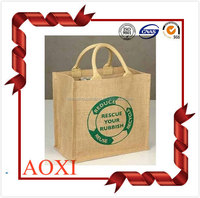 Good quality handle style customized simple promotional carrier jute bag