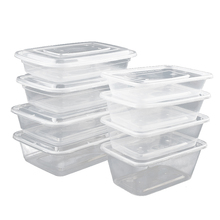 Rectangle Sample Transparent Lunch Box PP Disposable Plastic Takeaway Food Container with Lip