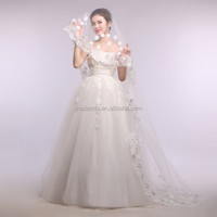 2015 High Quality One Layer With Lace Appliqued 3 M Wedding Dress Veil