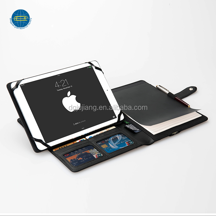 Fashion Business Customized A4 PU Leather Tablet portfolio with Power Bank
