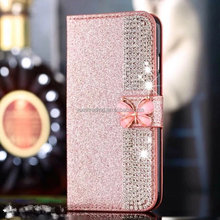 Factory price Flip cover wallet case with Crystal butterfly For Iphone 5G 5s SE
