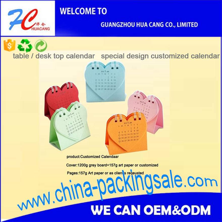 CF2-715 table paper calendar 2017 Cheap high quality manufacturer table calendar printing with sticky notes 2017