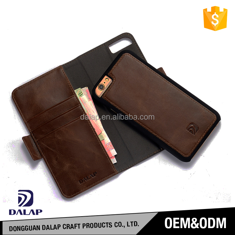 High quality black leather case for iphone 6s 7, mobile phone case leather