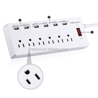 Surge Protector 6 Outlet Individual switching power strip with usb max 6A