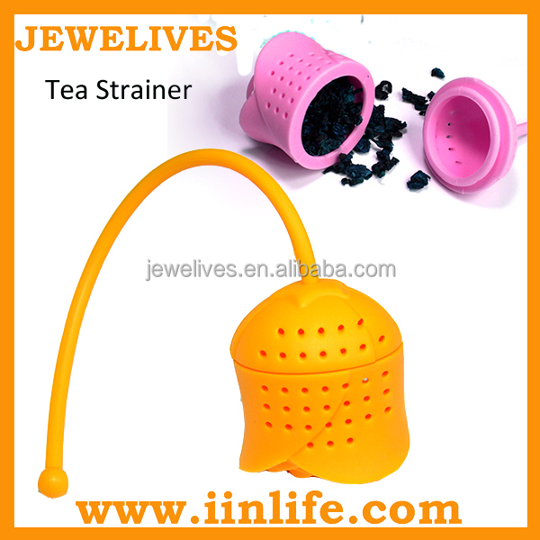 Gift giveaway ideas silicone tea strainer with rose shape