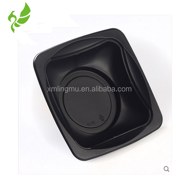 Disposable Black PP Plastic Salad Bowl Cake Tray With Lids