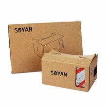 2017 Hot selling amagic and more popular 3D Foldable VR Glasses Cardboard with bluetooth remote Soyan virtual reality box