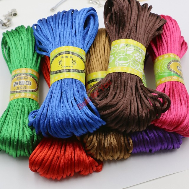 10yard Soft Satin Rattail Silk Macrame Cord Nylon Kumihimo Shamballa For Diy Bracelet Necklace Jewelry Findings Accessories 2mm