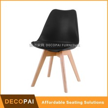 Upholstered plastic side chair with beech wood legs Dining chair leisure chair