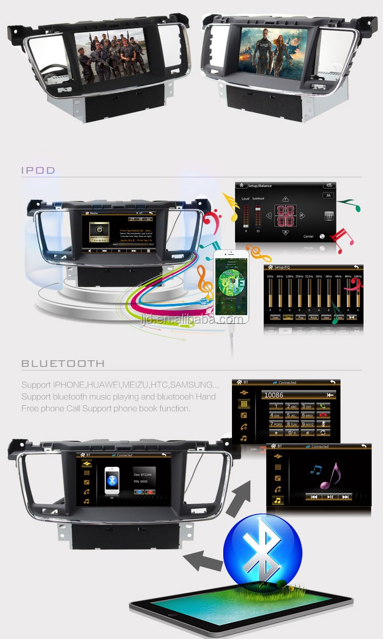car dvd player gps navigation car steering wheel control for peugeot 508 with bluetooth