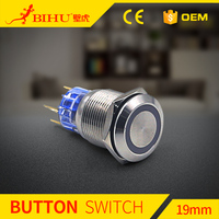 BIHU best selling 19mm 12V BLUE Led Angel Eye Push Button Metal ON-OFF Switch for Car Boats