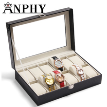 ANPHY C101-1 High Quality black PU leather 12 grids watch display box with window