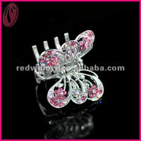 Mini Butterfly Rhinestone Glitter Bow Fine Bridal Hair Claw