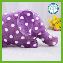 Popular colorful soft plush elephant pillow blanket with wave dot pattern