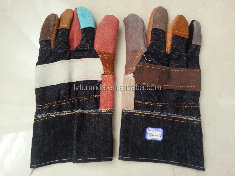 "10.5"" cow split leather and jeans working gloves with reinforced palm"