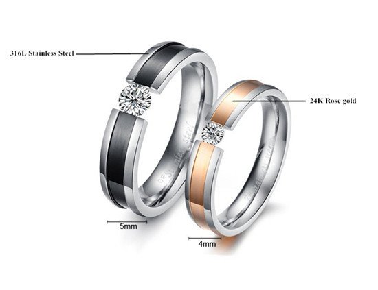 Smooth Surface Setting Diamond Two Couple Ring,Stainless Steel Jewelry,2015 Popular Body Accessories