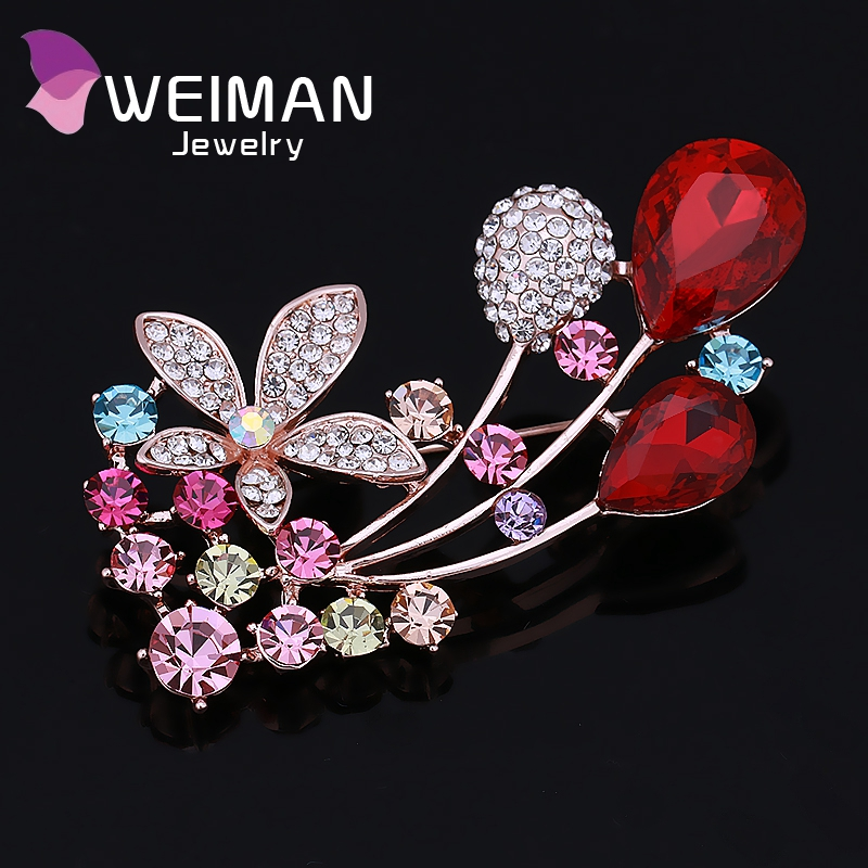 Hot sale custom ladies rhinestone crystal flower brooches and pin