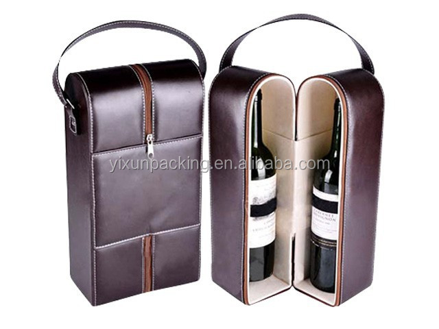 leather bottle packaging with wine holder and accessories