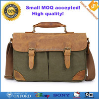 Experienced manufacturer canvas Italian genuine leather cheap men's messenger bag