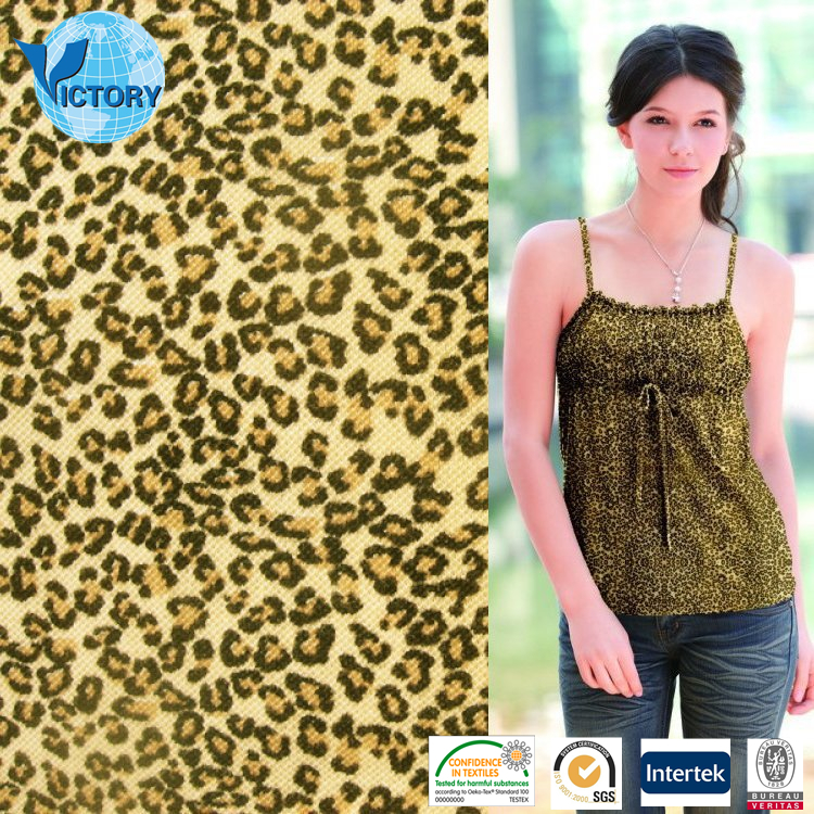 High Quality Fabric Weft Knitted Pique Mesh Leopard Printed Cotton Knitted Fabrics