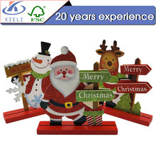 XL047 Santa Claus shape cute christmas ornaments wood toys for kids