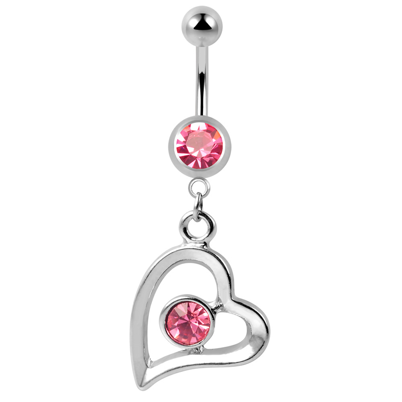 Stainless steel 14g belly button rings single bezel set pink heart dangle navel piercing