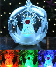 LED Glass Ball Christmas Tree Ornament with Angel Inside,Clear Glass with Hand Painted Glitter Snowflakes