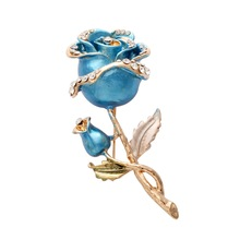 Fashion wholesale gold plating white rhinestone blue enamel rose brooch for women