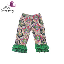 Wholesale kids boutique floral trousers wholesale girls ruffle leggings fashion baby ruffle pants