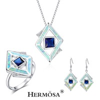 Christmas Gifts Silver 925 Stamp Geometry DESIGN Blue Fire Australian Opal Facet Topaz Genuine Stone Jewelry Sets