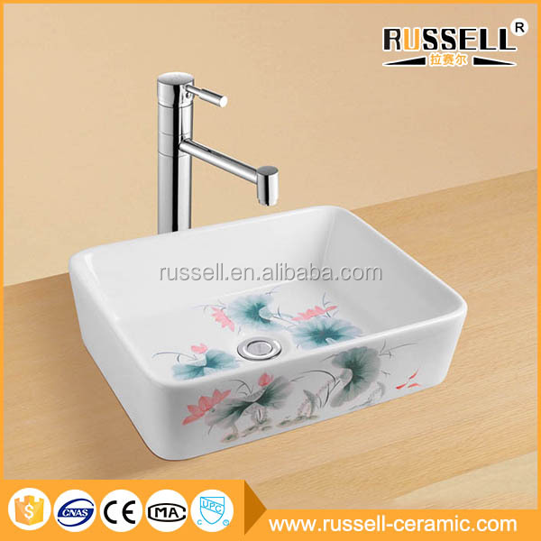 Cheap china sanitary blue and white hand painted ceramic sink