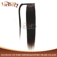 Competitive price 55 cm 100 gram Malaysian Human Hair Ponytail