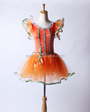 2016 New Design -One shoulder orange flower girls dance dress- purfy soft mesh tutu