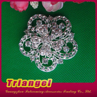 Top Quality Rhinestone Big Flower Brooch For Wedding Chair Sash