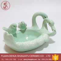 Elegant home ornaments light green ceramic duck for sale