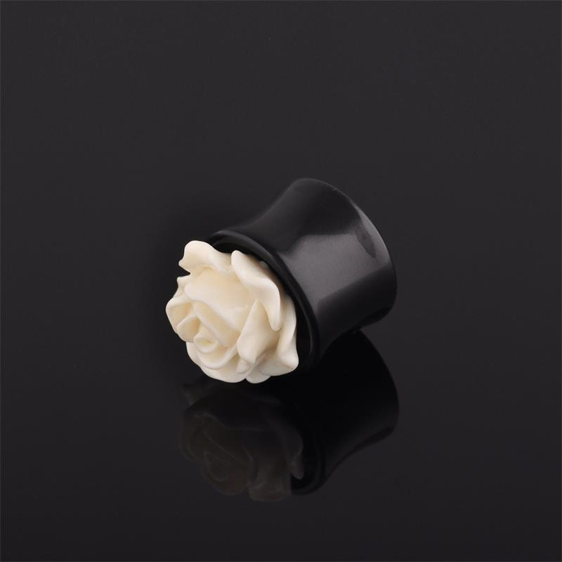 Fashion 3d white rose flower black saddle plugs acrylic ear tunnel expander