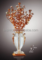 Home Decorative Crystal Vase With Golden Flower, Bronze Crystal Flower Vase, Home Decoration Art