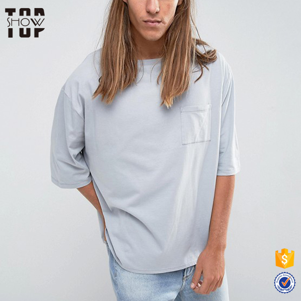 Chinese wholesaler boat neck 3/4 sleeve t shirt men drop shoulder t-shirts