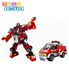 new trendy products intelligence fire blocks car toy robot for kid playing