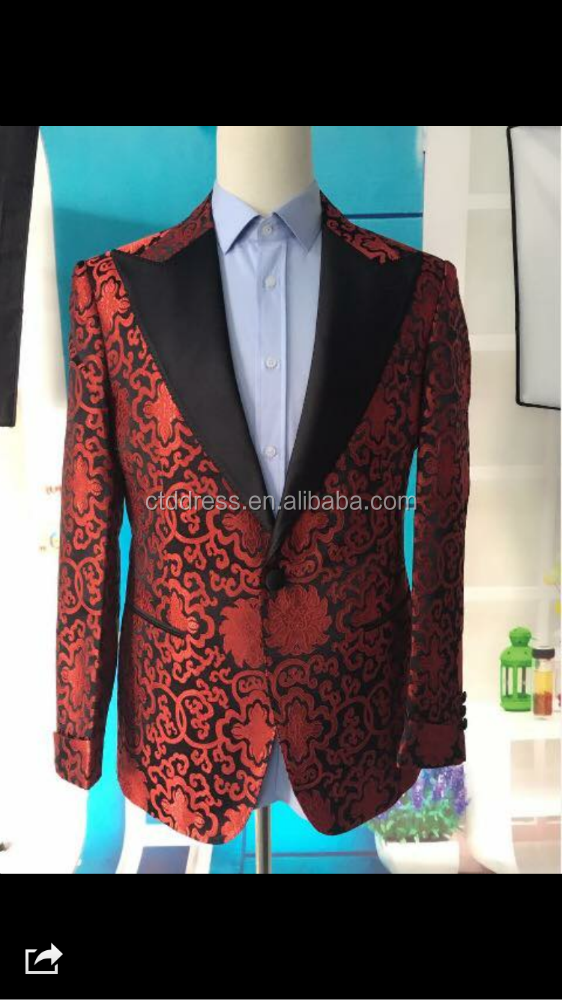 2015 custom tailor made mens red print coat pant suit