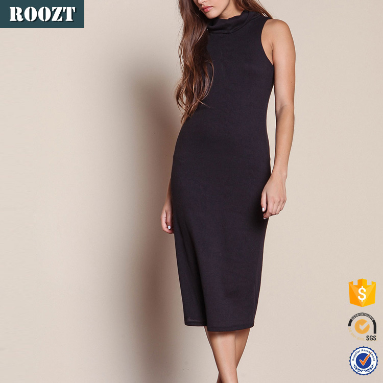 Hot sale Ladies knit bodycon dress with a high neck and small slit on the side long black winter dress