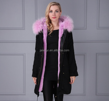 New arrival European and American style high-rank chic fur parka coat with genuine fur hood